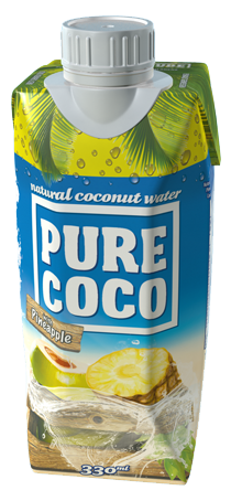 330ml Pure Coco kokosová voda s příchutí ananasu